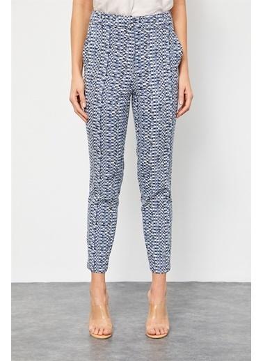 Setre Tozlu Mavi Geometrik Desen Kumaş Pantolon Mavi